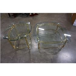BRASS GLASSTOP COFFE AND ENDTABLE