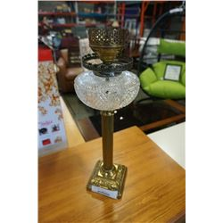 BRASS AND GLASS LAMP 20 INCH