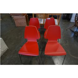 4 RED BENTWOOD CHAIRS