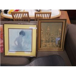2 PRINTS - LADY AND TOWN