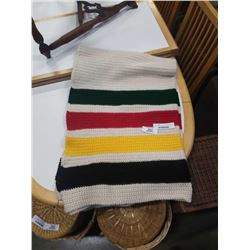 HAND KNITTED HUDSON BAY STYLE BLANKET