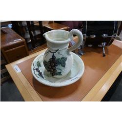 Clay jug and bowl