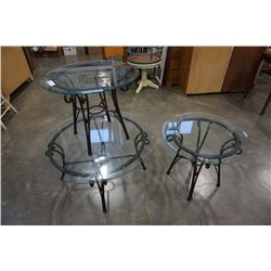 3 PIECE ROUND METAL GLASSTOP COFFEE TABLE SET