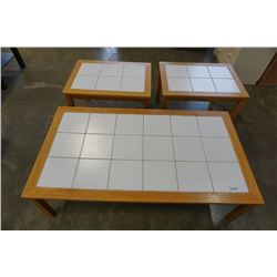 3 PIECE MADE IN DENMARK TILE TOP COFFEE TABLE AND ENDTABLES