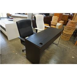 IKEA DESK AND 2 BLACK AND WHITE OFFICE CHAIRS GAS LIFT