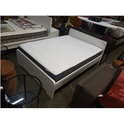 WHITE DOUBLE SIZE BED FRAME WITH MATTRESS