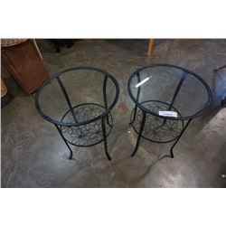 PAIR OF GLASS TOP AND METAL SIDE TABLES