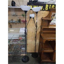 2 BLACK FLOOR LAMPS WITH FLEXIBLE NECK LAMPS