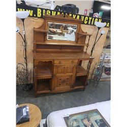 ANTIQUE 2 PIECE BUFFET AND MIRROR GALLERY HUTCH
