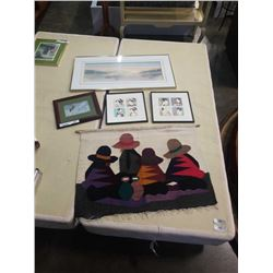 2 SIGNED PRINTS, 2 ORIENTAL PICTURES, AND KNITTED TAPESTRY