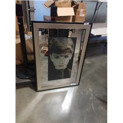 Large mirrored etched audrey hepburn portrait