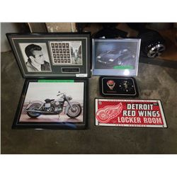JAMES DEAN PRINT WITH STAMPS, HOCKEY CLOCK AND ART AND HARLEY PRINT AND CAR PRINT