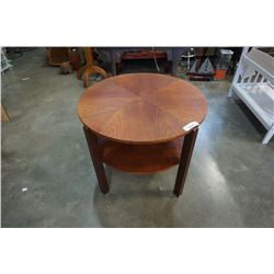 GORGEOUS ROUND TEAK 2-TIER END TABLE