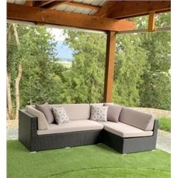 BRAND NEW PREMIUM OUTDOOR SECTIONAL RETAIL $1199 W/ LIGHT GREY CUSHIONS - MADE W/ POWDER COATED ALUM