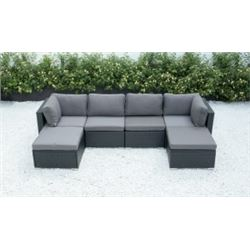 BRAND NEW RATTAN OUTDOOR 6 PIECE MODULAR SECTIONAL SOFA W/ DARK GREY CUSHIONS - RETAIL $1499 POWDER