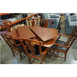 MAHOGANY DINING TABLE WITH 2 LEAFS AND 6 CHAIRS