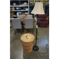 WICKER HAMPER WITH LID AND DECORATIVE FLOOR LAMP