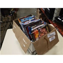 Box of DVDs and blurays
