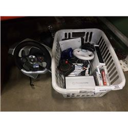 WII CONSOLE, VIDEOGAMES, XBOX 360 CONTROLLER AND STEERING WHEEL WITH PEDALS