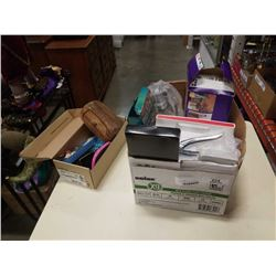 BOX OF ESTATE GOODS, JEWELRY, SWIFFER PADS
