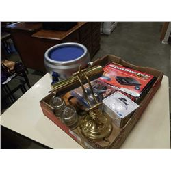 BOX W/ BANKERS LAMP, RADIO TUBES, ASSORTED ESTATE ITEMS