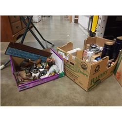 2 BOXES OF BIRD FIGURES, COLECTABLES, FLASKS