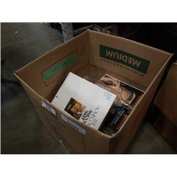 BOX OF RECORDS AND 3 VINTAGE BOTTLES