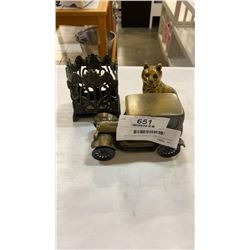 Brass car coin bank, cat figure and napkin holder