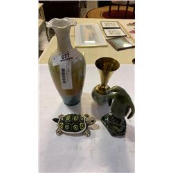 Porcelain turtle, peguin and 2 vases