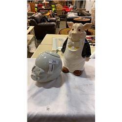 2 PIG COOKIE JARS