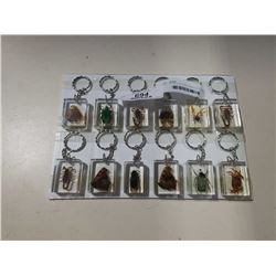 TRAY OF NEW BUG AND INSECT KEYCHAINS