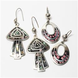 Pair of Large Sterling Silver Mexico- Stone Inlaid Drop Earrings. 2 Pairs.