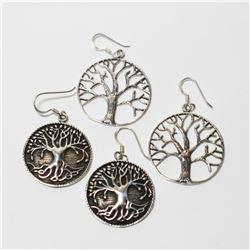 Pair of Sterling Silver Tree of Life Earrings. 2 Pairs.