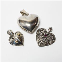Lot of Sterling Silver Heart Pendants. 3pcs.