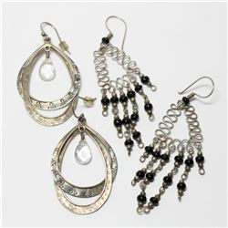 Pair of Large Sterling Silver Fashion Earrings with Stone Accents. 2 Pairs.