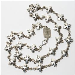 """Solid Sterling Silver KING BABY Cross Link Chain.  Measures 24"""" in length with a total weight of 103"""
