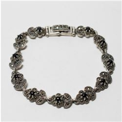 """Vintage Sterling Silver Marcacite Floral Bracelet with Custom Box Clasp.  Measures 6 1/2"""" in length."""