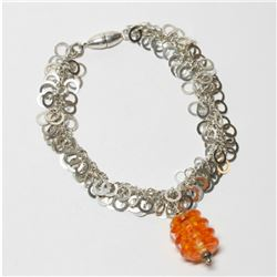 """Custom Sterling Silver Bracelet with Bead Accent and Magnetic Clasp.  Measures 8"""" in length."""