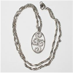 """Sterling Silver 24"""" Chain with Lobster Clasp and Stone Accented Pendant."""