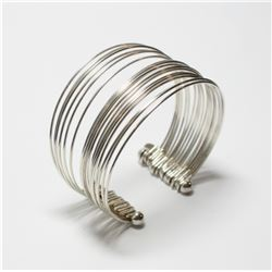 Sterling Silver Multi-Band Cuff Bracelet. Weight of 22.07 grams.