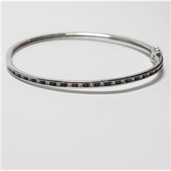 """Sterling Silver Stone-Accented Clasped Bangle Bracelet. Measures 2 1/2"""" in diameter."""