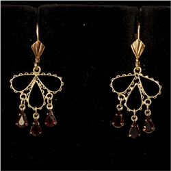 Lady's 10K Yellow Gold Lever Back Drop Earrings with Stone Accents.  Total weight of 1.84 grams.