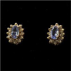 14K Yellow Gold Iolite & Diamond Stud Earrings. Total weight of 2.34 grams.