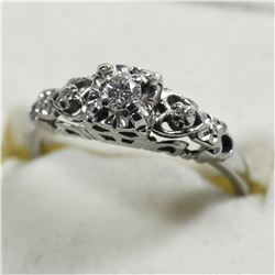 Vintage Lady's 18K White Gold Custom Solitaire Diamond Ring.  Total weight of 2.7 grams.