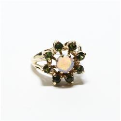 Vintage 14K Yellow Gold Opal & Emerald Statement Ring - Size 5 3/4.  Total weight of 4.59 grams.