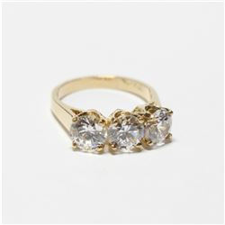 Lady's 10K Yellow Gold Cubic Zirconia Trinity Ring - Size 5 1/2.  Total weight of 3.72 grams.