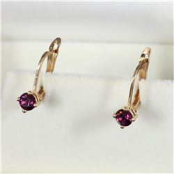 10K Yellow Gold Amethyst-like Lever back Earrings  Total weight of 1.22 grams.