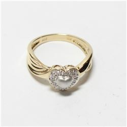 Lady's 10K Yellow & White Gold Diamond Heart Ring - Size 7 1/4.  Total weight of 3.41 grams.