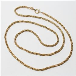 """10K Yellow Gold Twisted Rope 20 """" Chain with Spring Ring Clasp.  Total weight of 7.13 grams."""