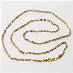 """18K-20K Yellow & White Gold Spiral 18"""" Chain with Lobster Clasp.  Total weight of 6.64 grams."""